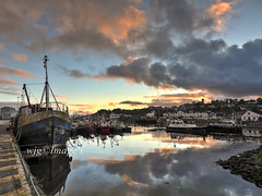 Sunset reflections, Greencastle, Co. donegal. (willieguildea) Tags: harbour port quay sunset sky clouds reflections water waterscape boats fishingboats trawlers nikon greencastle donegal inishowen ireland eire ulster seaside coast coastal