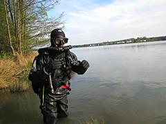 Black rubber diver (CZDiver) Tags: scubagear scubadiving divinggear doublehosescubaregulator aqualungmistral gatesproam1050drysuit scuba scubadiver drysuit drysuitdiving