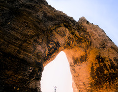 Nugget of the French Coast (ThibaultPoriel) Tags: arche arch ark gold colors sunlight sun light lights adventure explore landscape people visual mood etretat france olympus travel silhouette rocks cliff rock formation eroded daylight outdoor outdoors exploration normandie normandy