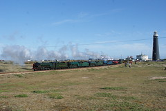 """No.2 """"Northern Chief"""", No.3 """"Southern Maid, No.7 """"Typhoon"""", No.8 """"Hurricane"""", No.9 """"Winston Churchill"""" & No.10 """"Dr. Syn""""   The Multi Header Railtour. (Cherrham Junction) Tags: rhdr romney hyther dymchurch railway steam diesel gala galla weekend multi header southern maid hurrican typhoon dr syn winston churchill northern chief dungeness lighthouse"""