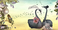The Wedding (Jewel Appletor aka Karalyn Hubbard) Tags: lode anc meadowworks bliesenmaitai ohmai nomad art artist artwork whimsical flowers music wedding swan mouse birds butterflies morningglory love tyingtheknot fantasy illustration collaboration gramaphone lily waterlily forever vows forkeeps photo