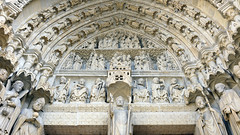 Amiens Cathedral, left portal tympanum close