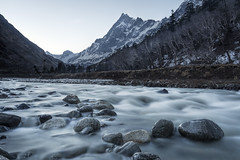 swargarohini at sunrise (dr_zook81) Tags: landscape valley mountain har ki dun outdoor stream rock rocks sun sunrise beautiful water nd cloud clouds color colour forest pine cold wide india uttrakhand river glacier cone bank morning fog foggy swargarohini