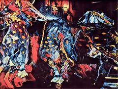 Les chevaux de feu. (Gilles Daligand) Tags: lyon rhone fontaine bartoldi chevaux fêtedelalumière illuminations interprétation filtre prisma iphone6s