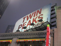 Twin Peaks Billboard Times Square 2017 Foggy Night NYC 4843 (Brechtbug) Tags: twin peaks the return billboard poster ad laura palmer sheryl lee fbi agent dale cooper kyle maclachlan mystery 90s show showtime type mysterious bird birds owl owls may 05212017 9pm 2017 nyc broadway 50th st near times square midtown manhattan street new york city streets 04272017 hazy fog foggy night nite