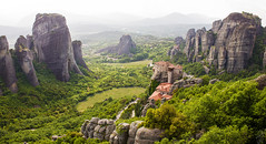 Meteora Panorama (pap-x) Tags: canon nature greece 550d landscape wild mountain river wide meteora rock formation monastery spiritual green spring