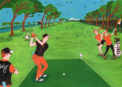 Blow Your Mind (Hilo Tomula) Tags: hilo tomula hiro tomura トムラ ヒロ とむら ひろ golf course country club championship blow wind tee shot cady hole wood driver illsutration illustrator painting painter hand acrylic brush drawing water color pop humor black joke funny vivid art print screen silk poster card swan duck bird rhythm iron yard green putter wedge graphic blowing