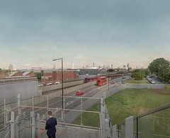 looking north from star lane station 2017 (chrisdb1) Tags: architecture archive artist chrisdorleybrown cityscape composite desolation dystopia east eastend estate joiner knowledge landscape london londonist nikon photorealism power public revolution time d800 municipal civic modern workers line newham england canningtown dlr docklandslightrailway station red bus stratford
