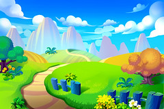 Creative Illustration and Innovative Art: Way to Mountain. Realistic Fantastic Cartoon Style Artwork Scene, Wallpaper, Story Background, Card Design (wallmistwallpaper) Tags: adventure art artwork asset background beautiful card cartoon child clear cloud collage color design drawing fancy fantastic fence field fine flower forest game grass greeting hill illustration image jungle kid land landscape mountain nature paint path peak plant road scene set sky tree wallpaper water wildflower wish wonder wood world