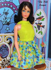 Vintage Mod TNT Black Hair Marlo Flip Barbie (The doll keeper) Tags: vintage mod tnt black marloflip barbie doll glimmer glamour dress ooak lime flowerpower