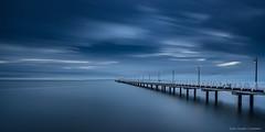 The Blue Lagoon (...Kush...) Tags: bay moretonbay seascape shorncliffe brisbane jetty shoreline landscape clouds longexposure bigstopper leefilters morning overcast rain sunrise