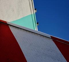 The Missing Piece (Alex L'aventurier,) Tags: montreal montréal quebec canada géométrie geometry murs walls lines lignes couleurs colours colors sky ciel bleu blue tilt briques bricks urban urbain city ville minimalisme minimalism diagonal art architecture