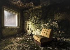 Someone else is happy with less than what you have (Marco Bontenbal (Pixanpictures.com)) Tags: urbex urban ue urbanexploring chair green old abandoned decay decayed hidden photography pixanpictures nikon d750 tamron 1530 window europe germany beautiful natural light naturallight lost lonely happy