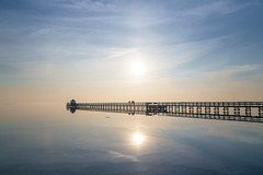 Walking in the Sky (Threin Ottossen) Tags: jetty sky water bridge reflections skyscape landscape sunset silhouette nakskov lolland denmark serene beach sea seascape abigfave