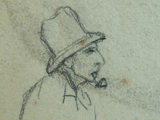 COURBET Gustave - Homme couché, Paysage, Figure, Etudes (drawing, dessin, disegno-Louvre RF29234.21) - Detail 33