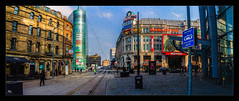 The Printworks (Kev Walker ¦ From Manchester) Tags: architecture building bus buses canon1100d canon1855mm citycentre colorfull england hdr lancashire manchester northwest outdoor panorama panoramic photoborder sky street taxis tracks tramlines trams printworks texture
