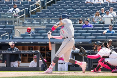 Astros shortstop Carlos Correa swings at a pitch during the first inning. (apardavila) Tags: carloscorrea houstonastros mlb majorleaguebaseball newyorkyankees yankeestadium yankees yanks baseball sports