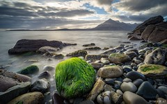 Posing (Wim Air) Tags: elgol beach stone moss sea waves longtimeexposre clouds isle skye wimairat bernhard wimmer
