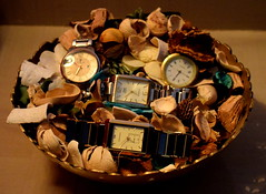 Time to say Cheese.  Smiley face. (Sriini) Tags: smileonsaturday takethetime time smile cheese artistic watches watch dried flowers copper bowl light