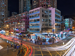 Tsuen Wan, Hong Kong (mikemikecat) Tags: tsuenwan 荃灣 hongkong mikemikecat stacked building colorful blue 建築 建築物 建築結構 基礎建設 城市 夜景 nightscape urban 戶外 h天際線 建築大樓 cityscapes lighttrails olympus olympusomd em10markii livecomposite 車軌