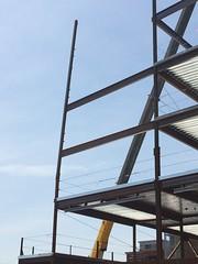 it'll straighten up :: later (origamidon) Tags: construction steel crane bluesky commercialst portlandmaineusa portland maine me usa 04101 cumberlandcounty donshall origamidon