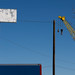 Crane and signs
