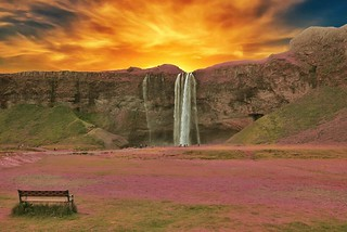 Iceland  ~ Seljalandsfoss Waterfalls ~ Bench to View