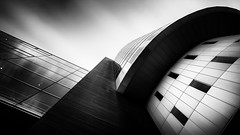 So Near [Explored] (Robert_Franz) Tags: architecture architectural longexposure building abstract lookup blackwhite modern futuristic fineart facade munich münchen city urban sky clowds geometry germany nd wideangle effect