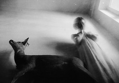 Anxiety (laura makabresku) Tags: laura makabresku photography deer dark darkness obscure black white bw women girl nightmare fear