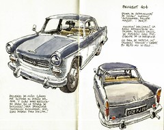 Peugeot 404 (Luis_Ruiz) Tags: uploaded:by=instagram peugeot 404 vintage cars urbansketchers drawing sketch sketchbook ink hatching
