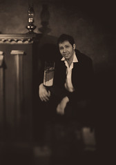 Roman and his cup of tea / Роман и его малюсенький стакан (neverbe) Tags: 13x18 sinarp2 bauschlomb10in5 ilfordfp4125 largeformat blackandwhite sinarcopalshutter studio shoe