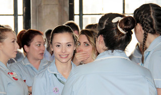 Students having a break from rehearsals during International Nurses Day