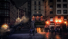 """Venue """"Casco Viejo"""" (VandenBerge Photography (On/off ....but mostly off) Tags: plazamigueldeunamuno cascoviejo bilbao spain night atmosphere ambiance square europe historical light nationalgeographic lonelyplanet travel"""