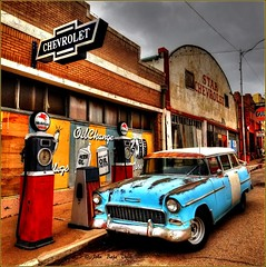 stepping back in time.... (Baja Juan) Tags: hss happy slider sunday hdr format altered modified hyper colors lowell arizona 1950s chevy car auto gas pumps old signage store fronts retro era gray skies baja