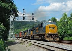 CSX 4687, 8376, 3416 (Trains & Trails) Tags: q36628 emd sd70mac yn3 widecab darkfuture train railroad connellsville pennsylvania fayettecounty interlocking signals 4687 gantry engine locomotive diesel transportation