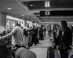 Black & White of A Busy SeaTac Morning (AvgeekJoe) Tags: bw blackwhite blackandwhite d5300 dslr internationalairport ksea nikon nikond5300 seatac seatacinternational seatacinternationalairport seattle seattletacomainternational seattletacomainternationalairport washington washingtonstate airport airportterminal terminal