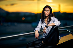 Terrace (Aloxxxy) Tags: portrait young female model beautiful sexy golden sky blueforeground sunset yellow terrace bokeh lovelydefocus canon strobe profoto profotob1 profotoocfbeautydish canon855mmf12liiusm sofia bulgaria evening whiteshirt blackleatherpants blackshoes