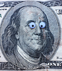 it's in the eyes (katerha) Tags: eyes googlyeyes franklin macromondays money 10000bill benfranklin