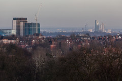 From Parliament Hill (Gary Kinsman) Tags: skyscraper 2016 london nw3 hampstead hampsteadheath parliamenthill canon5dmkii canoneos5dmarkii canon70300mm telephoto zoom compression skyline tower highrise architecture haze wealth inequality construction cranes development towerblocks socialhousing councilestate residencetower skylinetower archwaytower