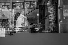 Shawarma? (obyda) Tags: shawarma food resturant man blackwhite bnw black blackandwhite street lifestyle streetphotography saudi riyadh reflection