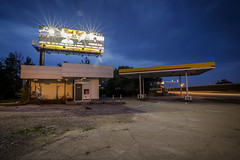 Abandoned Gas Station III (Notley) Tags: sky clouds cloudysky evening bluehour thebluehour missouri notley notleyhawkins 10thavenue gasstation petrol gas petrolstation httpwwwnotleyhawkinscom missouriphotography notleyhawkinsphotography 2017 longexposure lighttrails abandoned billboard may dusk columbiamissouri businessloop sign