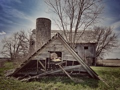 on the down low... (BillsExplorations) Tags: barns farm abandonedfarm abandonedillinois decay ruraldecay forgotten old collapsed fallen onthedownlow vintage weathered ruins