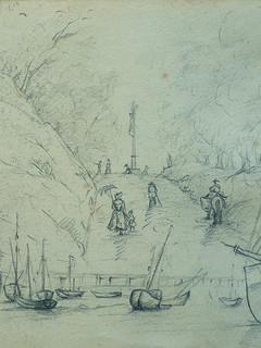 COURBET Gustave - Paysages et Eglise, Etudes (drawing, dessin, disegno-Louvre RF29234.9) - Detail 71