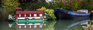 Automne, Canal du Midi, Péniche, Toulouse