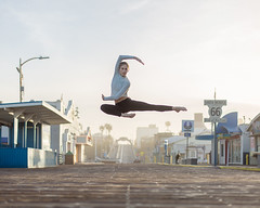 Jill (J Trav) Tags: camerasanddancers santamonicapier dancer santamonica sunrise cameras dancers portrait jump sunshine california