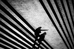 En route to Barlecona (tomabenz) Tags: barcelona sony a7rm2 noiretblanc urban light shadow monochrome stripes human geometry bnw barcelone bw streetview black white europe noir et blanc street photography blackandwhite humaningeometry lightandshadow sonya7rm2 streetphotography