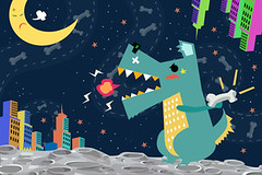 Illustration: Dog Godzilla attack the City on the Space Planet! Realistic Fantastic Cartoon Style Artwork / Story / Scene / Wallpaper / Background / Card Design. (wallmistwallpaper) Tags: alien animal anime art artwork background beast book building card cartoon child city clip collage concept creature design dog drawing dream fairy fantastic fiction fierce fight fireball game godzilla happy illustration imaginary kid magical memory monster moon paint planet postcard scene science space sticker story tale universe wallpaper wish world