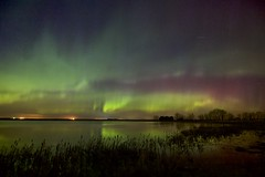 After 11PM sky with visible colours (John Andersen (JPAndersen images)) Tags: alberta aurora beiseker clouds granaries green night pink pond purple red reeds reflections sky stars