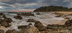 Roughly flows the tide (OzzRod) Tags: pentax k1 smcpentaxda1017mmf3545fisheye dawn sunrise seascape coast beach sea ocean rocks millbeach cuttagee dailyinapril2017