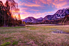 Breathtaking Sunrise (anneklitsch) Tags: neuschwanstein hohenschwangau lake castle bavaria bayern schloss füssen alps alpen berge mountains snow schnee sonnenaufgang sunrise red rot awesome hdr nikon d7200 colors coloful colour colours sky dusk paradise clear see wideangle landscape weitwinkel landschat natur nature landschaft baum bäume wald morgen morgends morning tree forest photomatix darktable tokina